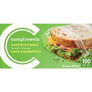 Compliments Resealable Sandwich Bags 100 EA