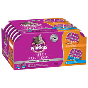Whiskas Perfect Portions Cuts in Gravy Chicken & Salmon Wet Cat Food Multipack 12x75g