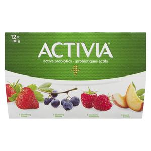 Activia Raspberry Strawberry Blueberry Peach Yogurt 12 x 100 g