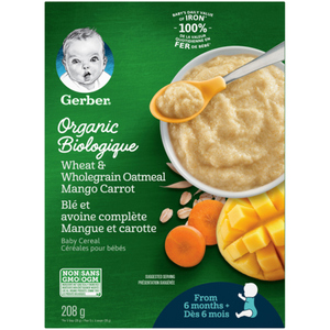Gerber Organic Baby Cereal Wheat & Wholegrain Oatmeal Mango Carrot 208 g