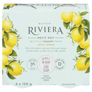 Riviera Less Sugar Yogurt Lemon Set Style 4 x 120 g