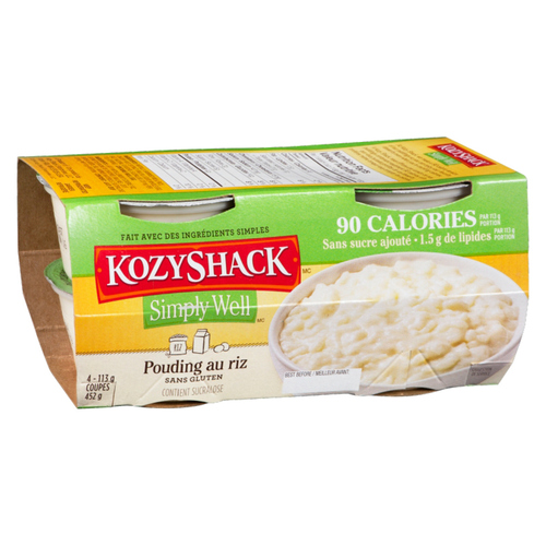 Kozy Shack Simply Well No Sugar Added Rice Pudding 4 x 113 g