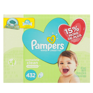 Pampers Complete Clean Baby Wipes Unscented 432 Sheets