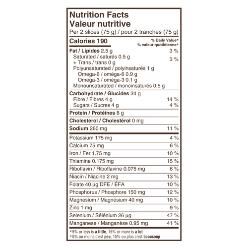Dempster's 100% Whole Grains Bread Honey & Oatmeal 600 g