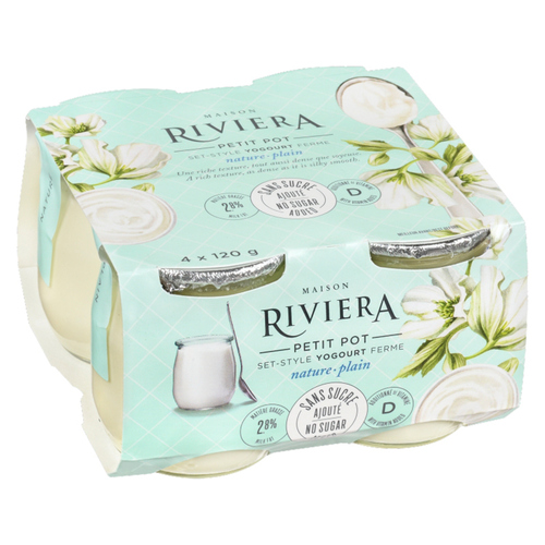 Riviera No Sugar Added Yogurt Plain Set Style 4 x 120 g