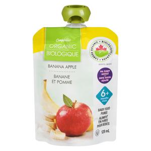 Compliments Organic Baby Food Purée Banana Apple 128 ml