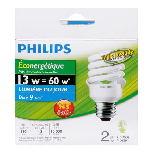 Philips CFL Mini Twister Light Bulbs 13W 2 EA