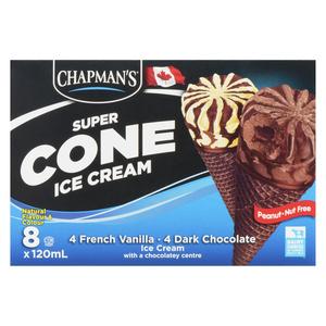 Chapman's Super Cone French Vanilla and Chocolate Ice Cream 8 x 120 ml