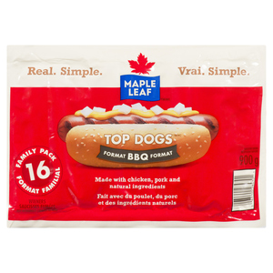 Maple Leaf Natural Top Dogs BBQ Hot Dogs Family Pack 900 g