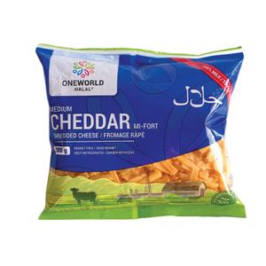 One World Halal Shredded Medium Cheddar Cheese 200 g