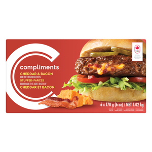 Compliments Cheddar And Bacon Stuffed Beef Burgers 6 Patties 1.02 kg