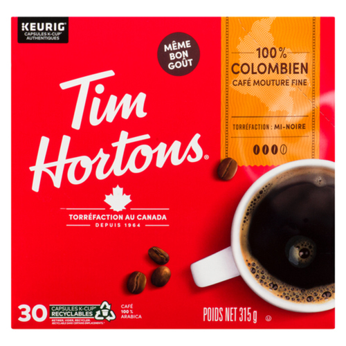 Tim Hortons Colombian Coffee 30 K-Cups 315 g