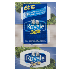 Royale Facial Tissues 3 Ply 88 Sheets Per Box 6 Boxes