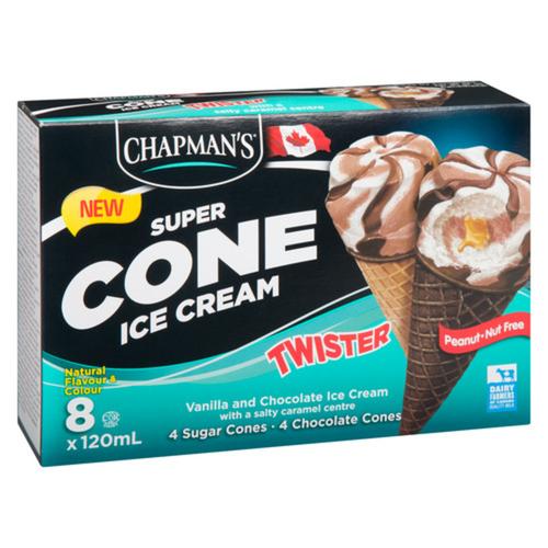 Chapmans Super Cone Salty Caramel Twist Ice Cream 8 x 120 ml
