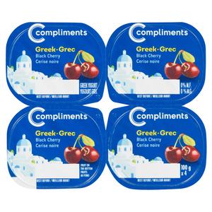 Compliments 0% Greek Yogurt Black Cherry 4 x 100 g