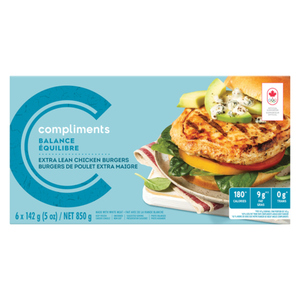 Compliments Balance Extra Lean Chicken Burgers 6 Patties 850 g