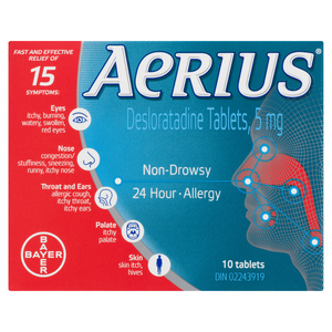 Aerius 24 Hour Allergy Tablets 5 mg 10 EA
