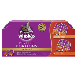 WhiskasPerfect Portions Meaty Selections Adult Wet Cat Food Paté Multipack 12x75g