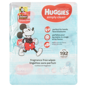 Huggies Simply Clean Unscented Baby Wipes, Flip-Top Pack, 192 count