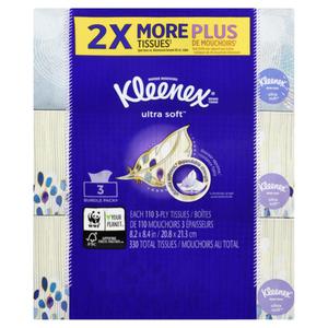 Kleenex Ultra Facial Tissues 110 Sheets 3 Boxes