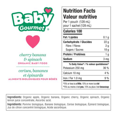 Baby Gourmet Organic Summer Cherry Banana Spinach Baby Food 128 ml