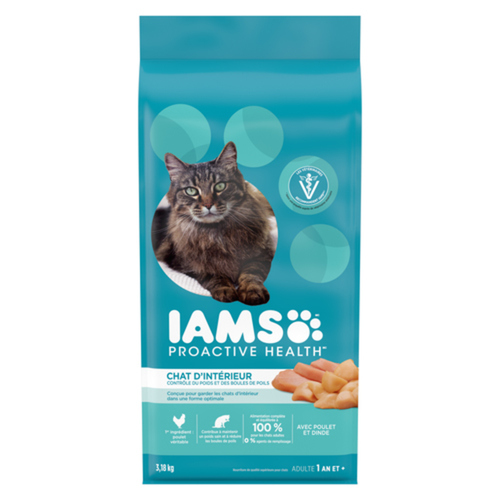 Iams Dry Cat Food Proactive Health Adult Indoor Weight & Hairball Care Chicken & Turkey 3.18 kg