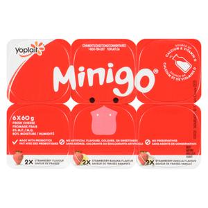 Yoplait Minigo Strawberry Banana Vanilla Yogurt 6 x 60 g