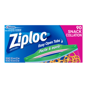 Ziploc Snack Bags with New Grip 'n Seal Technology 90 Bags