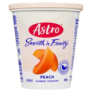 Astro Smooth & Fruity Stirred Peach Yogurt 650 g