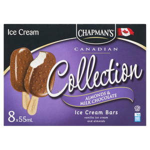 Chapman's Vanilla With Milk Chocolate And Almonds Ice Cream Bars 8 Pack 440 ml