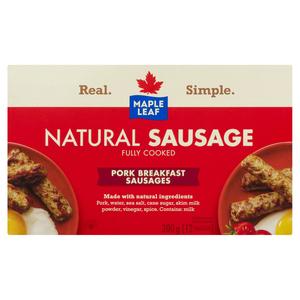 Maple Leaf Natural Pork Breakfast Sausage Fully Cooked 300 g