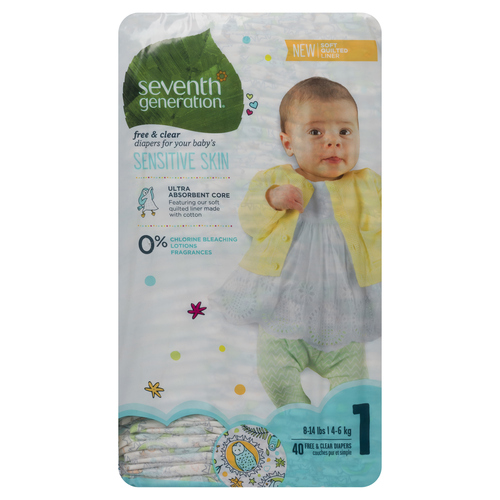 Seventh Generation Baby Diapers Size 1 40 Diapers