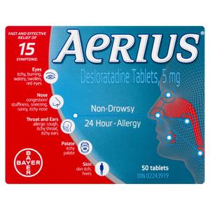 Aerius Antihistamine Tablets 5 mg 50 Tablets