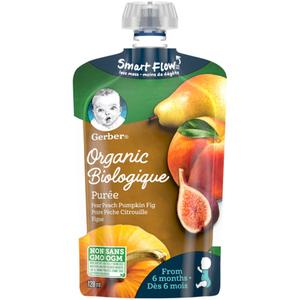 Gerber Organic Purée Pear, Peach, Pumpkin & Fig 128 ml