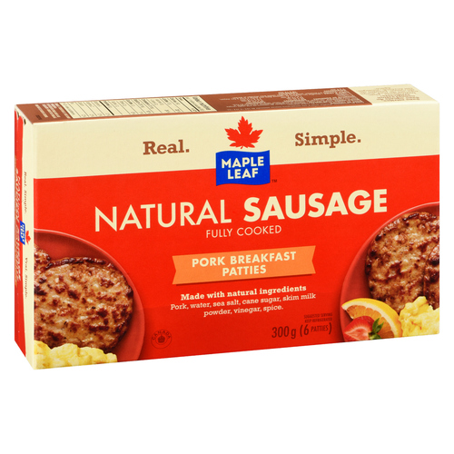 Maple Leaf Fully Cooked Natural Pork Breakfast Sausage Patties 300 g