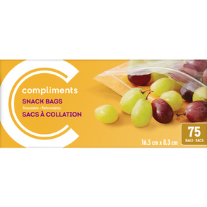 Compliments Resealable Snack Bags 75 EA