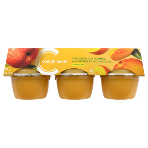 Compliments Snack Cups Unsweetened Apple Peach & Mango 6 x 113 g
