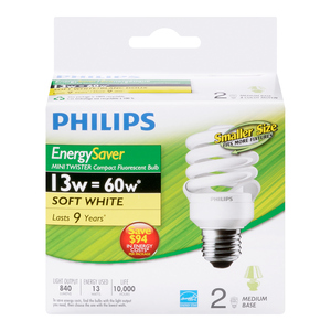 Philips 13W Mini Twister Soft White Light Bulbs 2 EA