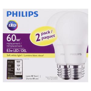 Philips 8.5W LED Soft White Light Bulbs 2 EA