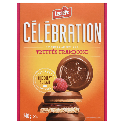 Leclerc Celebration Raspberry Milk Chocolate Coated Butter Cookies 240 g