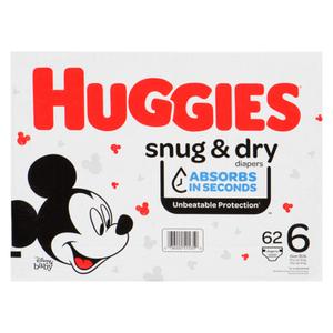Huggies Snug & Dry Size 6 Giga Diapers, 62 count