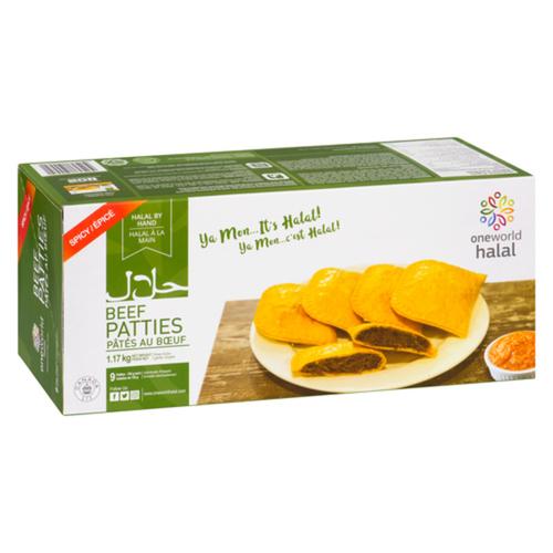 One World Halal Spicy Frozen Beef Patty 130 g