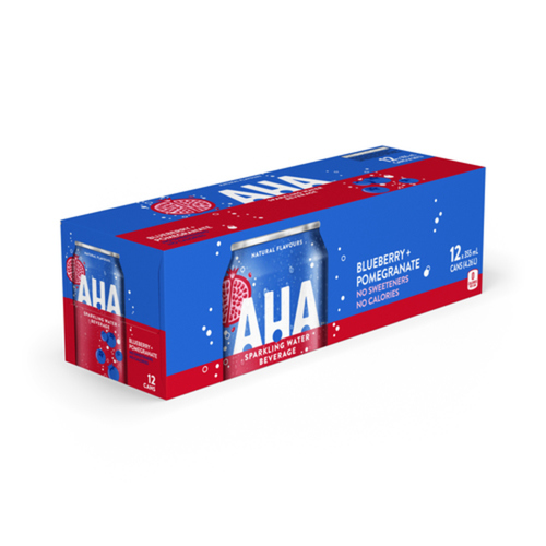 AHA Blueberry + Pomegranate Sparkling Water 355mL cans, 12 pack
