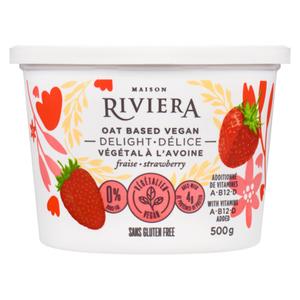 Riviera Oat Based Vegan Delight Strawberry Yogurt 500 g