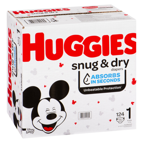 Huggies Snug & Dry Size 1 Giga Diapers, 124 count
