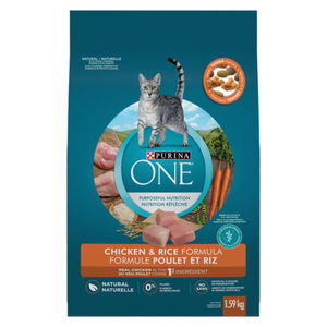 Purina ONE Dry Cat Food Natural Chicken & Rice 1.59 kg