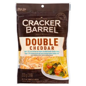 Cracker Barrel Double Cheddar Light Cheese Shreds 320 g