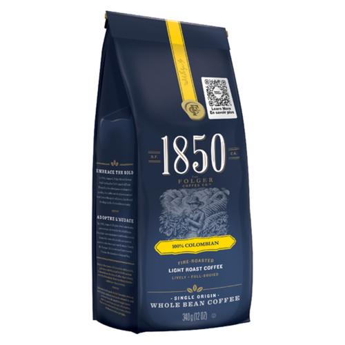 Folgers Coffee Whole Bean 1850 100% Columbian Light Roast 340 g