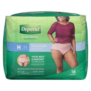 Depend Women's Underwear Medium 18 EA