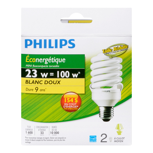 Philips CFL Mini TwistBulbs 23W Soft White 2 EA